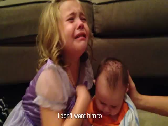 Little Girl Is Devastated When She Finds Out Her Baby Brother Is Gonna Grow Up  (VIDEO)