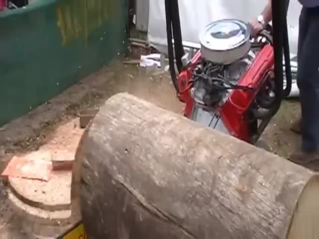 What You Get When You Power a Chainsaw with a V8 Car Engine