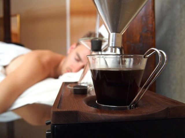 An Alarm Clock That Wakes You Up with Coffee