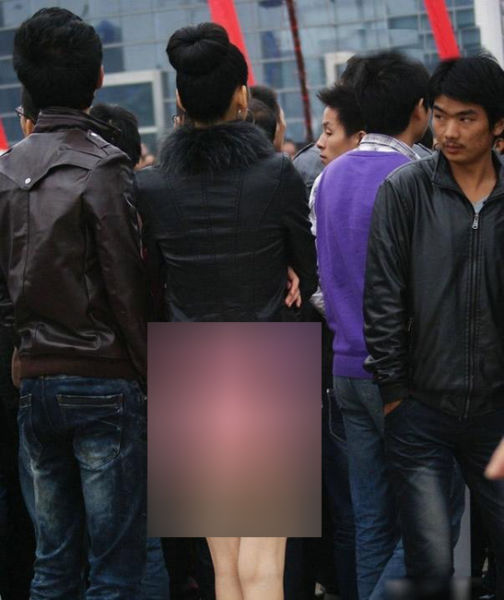 Chinese Woman Lets Her Bum Hang out in Short Skirt