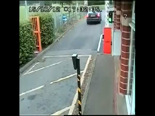 Cyclist Owned by Parking Barrier