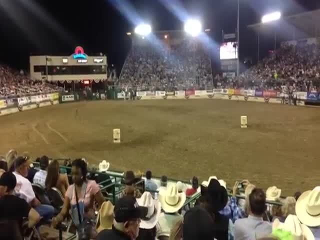 Unusual Barrel Race between Girl on Horse and Dirt Bike Rider