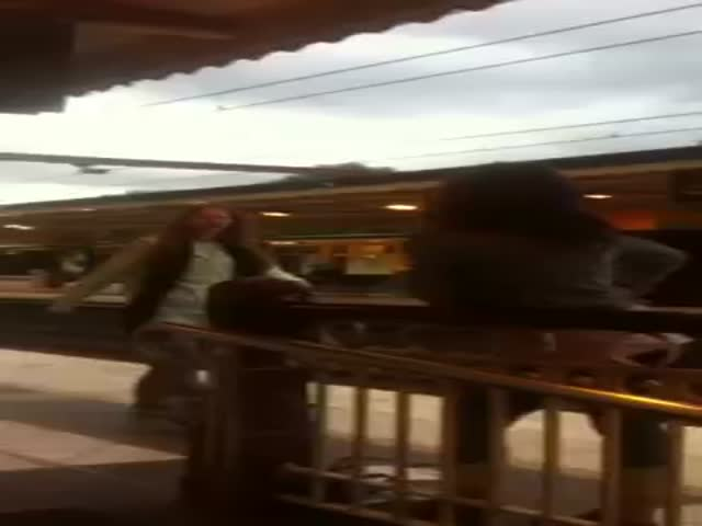 Hilarious, Clumsy Girl Fight at a Train Station