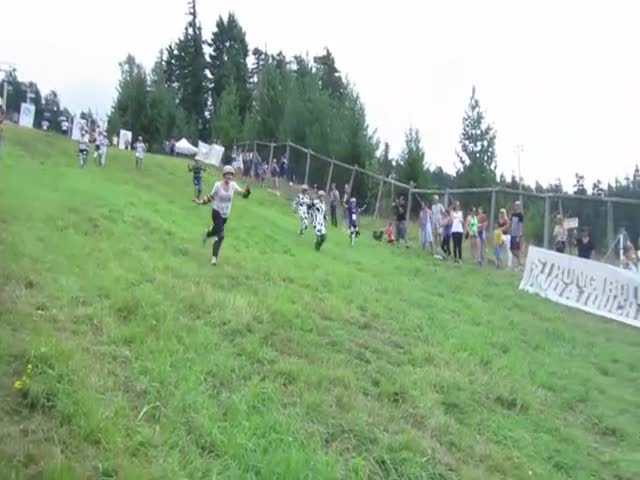 Hilarious Face Plant Fail During a Cheese Rolling Contest  (VIDEO)