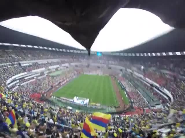 A Real Bird's Eye POV of a Football Stadium in Mexico