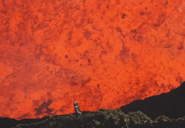 Crazy Man Rappels into Active Volcano