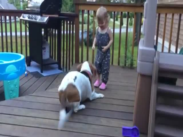 Toddler and Dog Dancing on the Deck