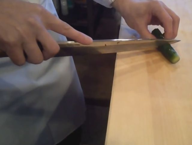 Sushi Chef Shows His Insane Cucumber Slicing Skills