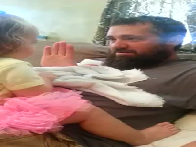 Bearded Dad's Peekaboo Surprise Confuses the Hell Out of His Little Girl