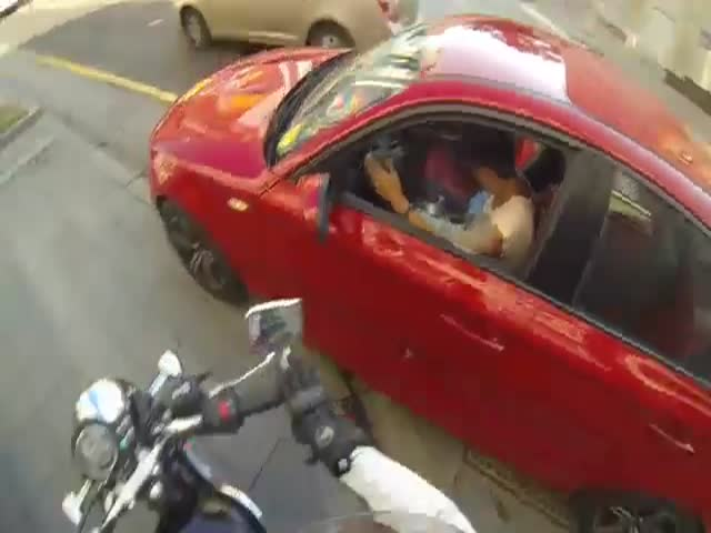 Russian Vigilante on Her Motorcycle Punishes Litterbugs