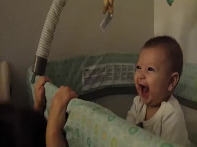 Toddler Plays Peek-a-Boo with Baby Brother