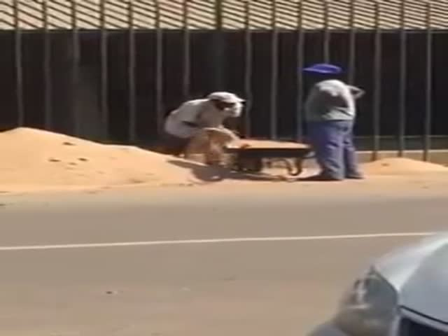 Two Men Move a Sand Pile with Amazing Efficiency  (VIDEO)
