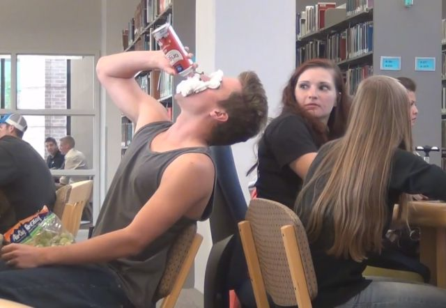 Eating Loudly in the Library Prank