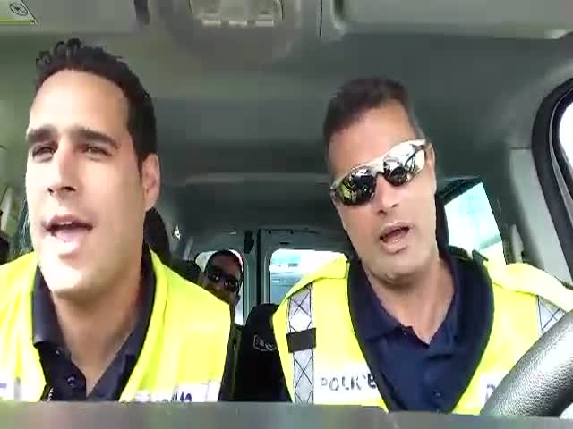 Three Police Officers Lip-Sync 'The Lion Sleeps Tonight'