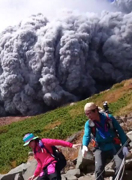Japanese Mountain Climbers Surprised by Volcano Eruption