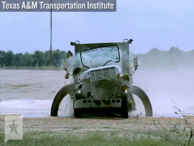 Insane Crash Test of a Virtually Indestructible Barrier  (VIDEO)