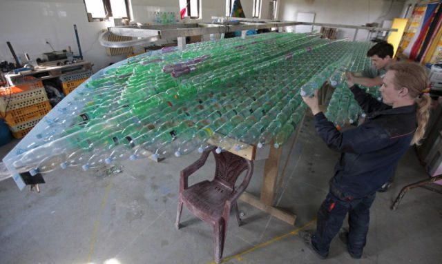 A Functional Boat Made out of Discarded Plastic Bottles