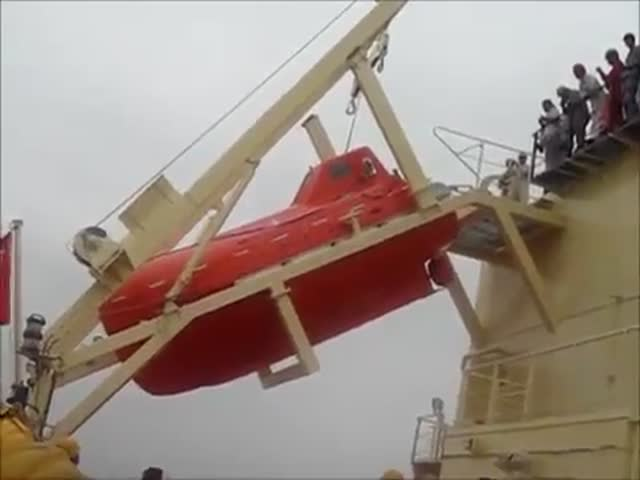 Lifeboat Does an Unexpected Front Flip  (VIDEO)