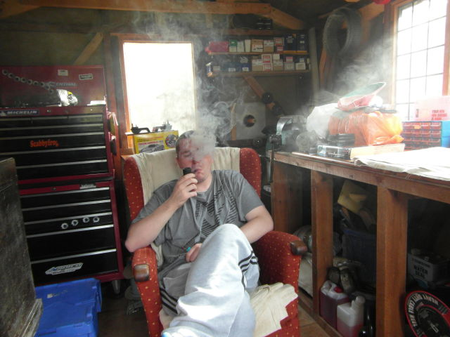 Having a Pipe in me shed.