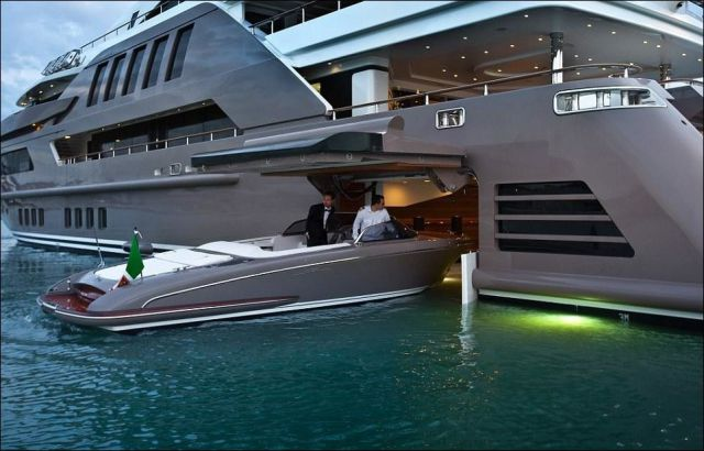 A Luxury Yacht That's Designed with a Garage for Boats