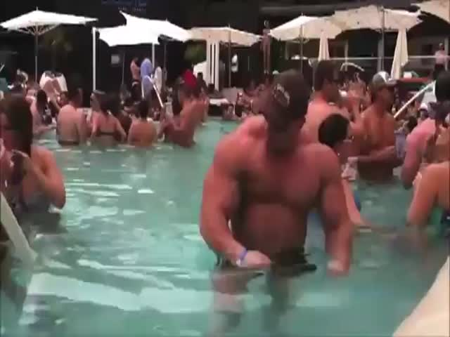 Douchebag at Pool Party Doesn't Get the Attention He's Desperately Seeking