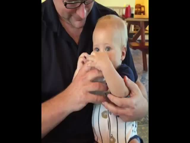 Baby's Funny Reaction to Drinking Water for the First Time