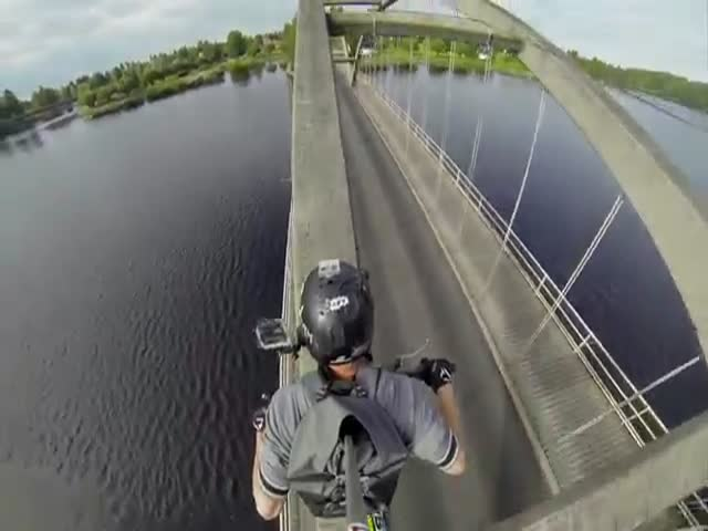 This Crazy Guy Takes Bridge Crossing to a Whole New Level
