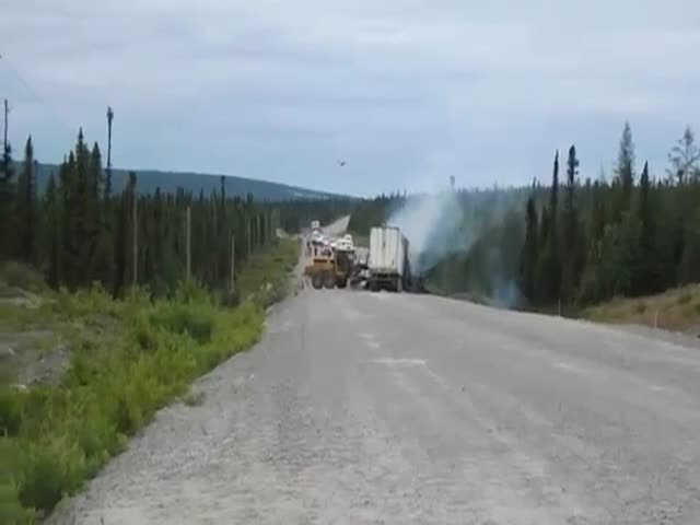 Fireplane Puts Out Semi-Truck on Fire