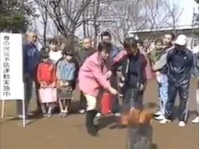 Woman Fails Extinguisher Training