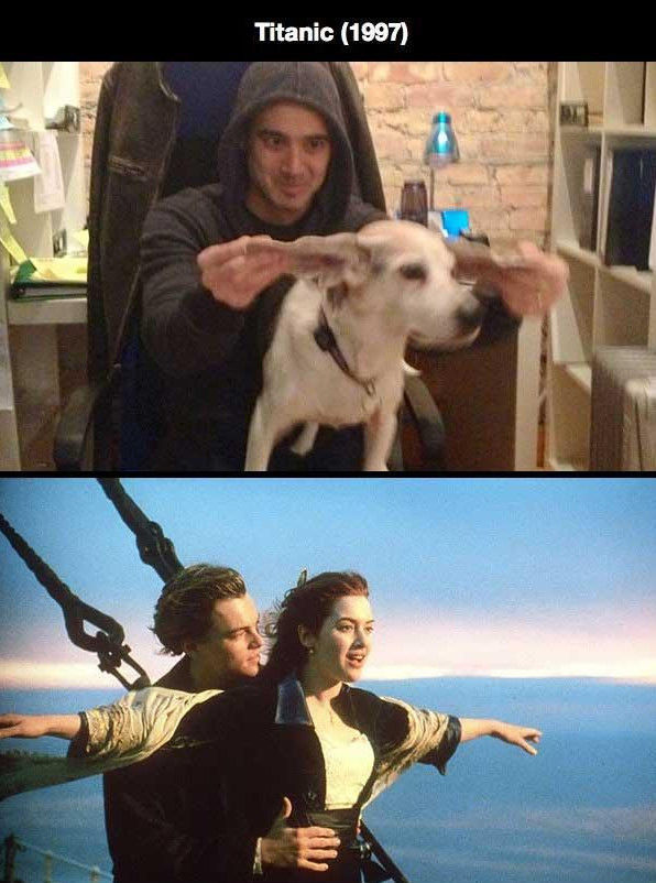 Man and Dog Recreate Romantic Movie Scenes