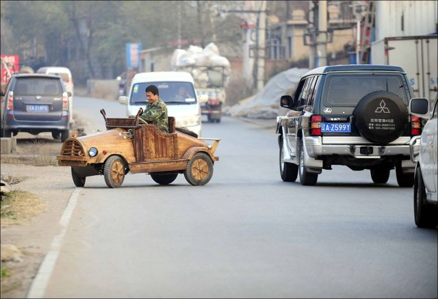 An Electronic Wooden Car That Is Completely Drivable