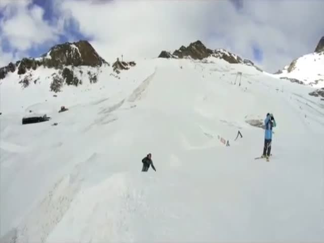 Skier Takes the High-Five to the Next Level