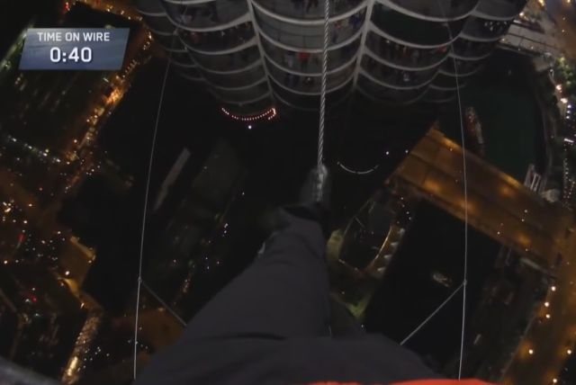 Daredevil Does a Tightrope Walk between Two Skyscrapers while Blindfolded