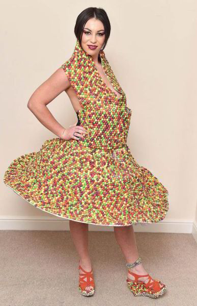 A Dress Made Entirely from Skittles