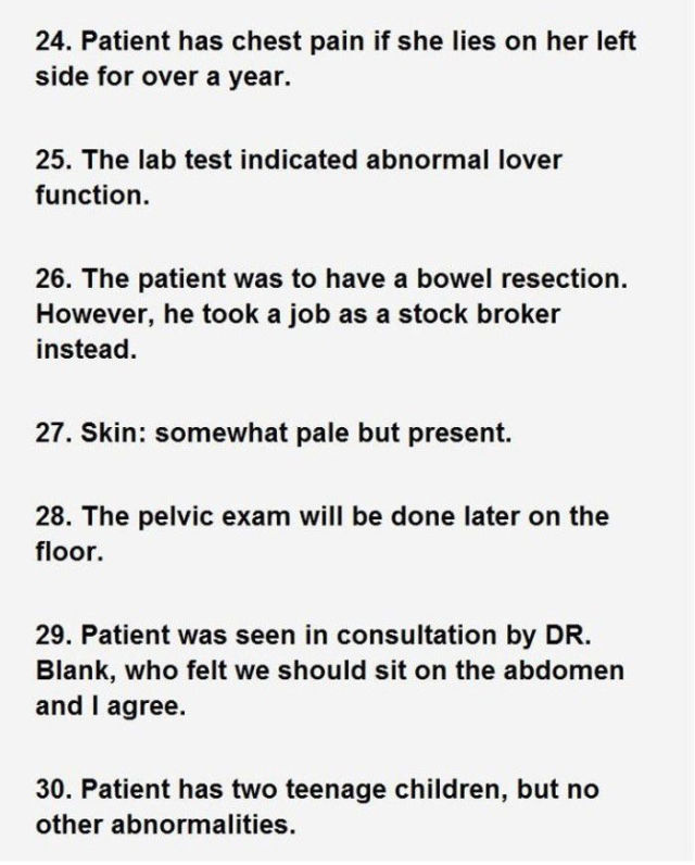 Hospital Chart Notations That Are Ridiculously Funny