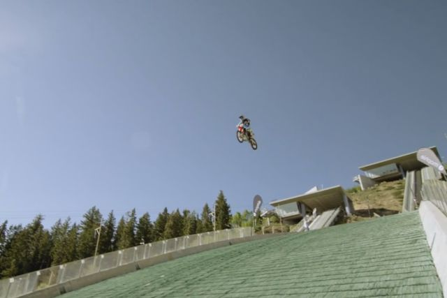 Insane Motorcycle Jump from a Ski Jumping Hill