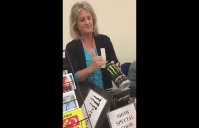 Woman Demonstrates How Monster Energy Is the Work of Satan