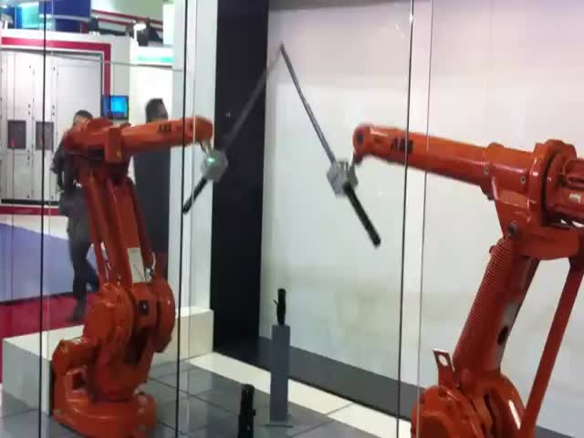 Katana Fight Between Arm Robots  (VIDEO)