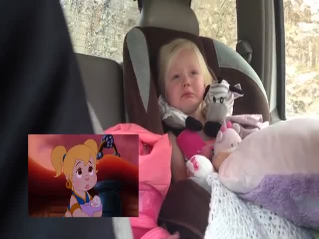 Little Girl Gets All Emotional While Watching Cartoon