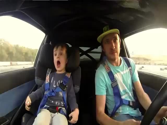 Race Car Driver Takes His 4-Year-Old Son for a Drifting Ride