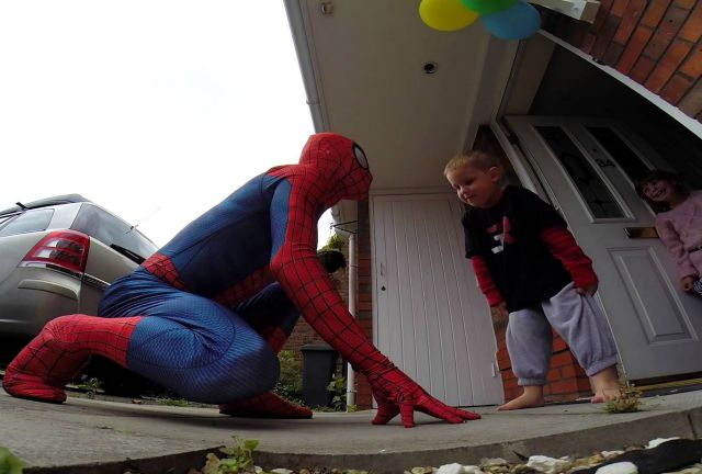 SpiderDad Jumps Off the Roof to Surprise His Dying Son on His 5th Birthday