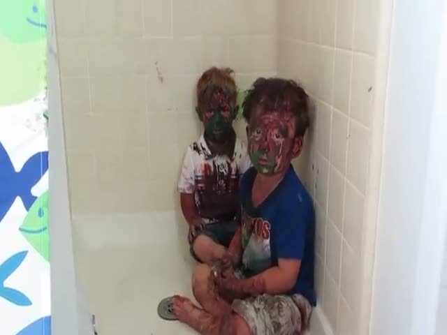 Dad Struggles Not to Laugh After Catching His Sons Covered in Paint