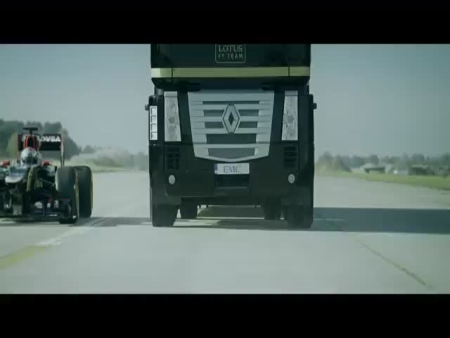 Jumping a Truck Over a F1 Car at Full Speed