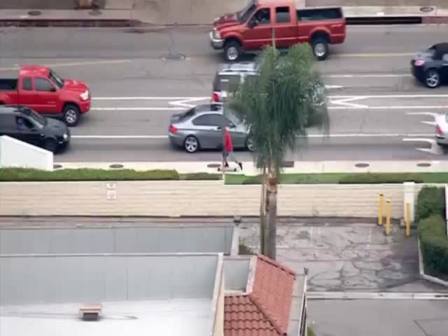 Dude Tries to Escape Police on a Longboard After Stealing and Crashing a BMW