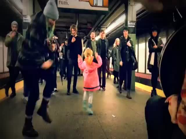 Adorable Little Girl Starts Dance Party in Subway Station