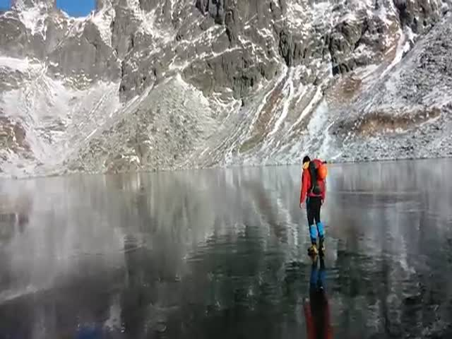 Walking on Crystal Clear Ice in Slovakian Mountains  (VIDEO)