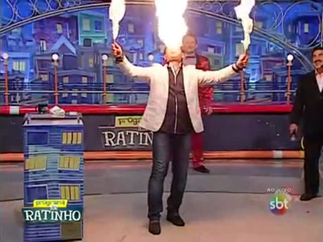 Fire Breathing Fail on TV Show  (VIDEO)