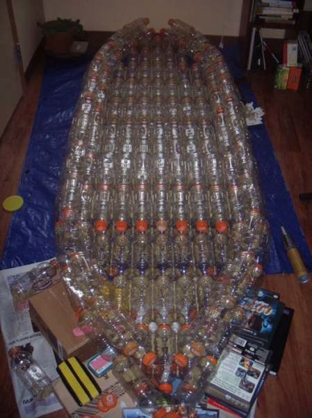 A Boat Made of Recycled Plastic Bottles