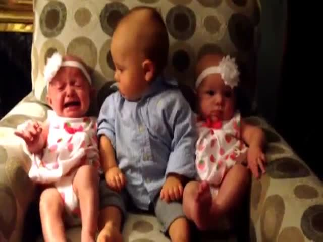 Toddler Is Confused by Baby Twins  (VIDEO)
