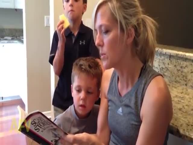 Kid's Priceless Reaction to a Scary Story  (VIDEO)